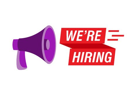 We are hiring text with megaphone. Recruitment agency, employment service. Text and purple loudspeaker on white background.Can be used for leaflets, brochures, announcements