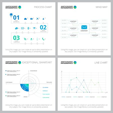Adaptives Infochart-Layout-Set für Statistik-Layout, jährliche Analysen, Folien, Webdesign. Geschäfts- und Buchhaltungskonzept mit Prozessdiagramm, Fluss- und Liniendiagrammen Vektorgrafik