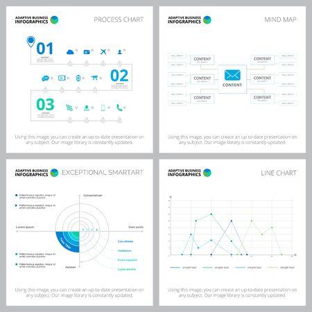 Ensemble de mise en page d'infocharts adaptatif pour la mise en page des statistiques, l'analyse annuelle, les diapositives, la conception Web. Concept commercial et comptable avec diagramme de processus, organigrammes et graphiques linéaires Vecteurs