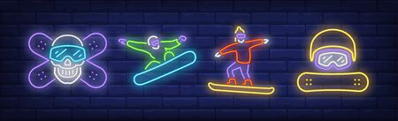 Snowboarder neon signs set. Snowboarding, board, helmet, mask. Vector illustration in neon style, bright banner for topics like winter activity, sport, lifestyle