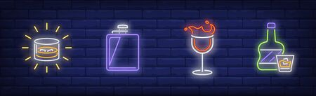Alcoholic beverages neon sign set. Bottle, wineglass, soda, flask. Vector illustration in neon style, bright banner for topics like celebration, bar, party
