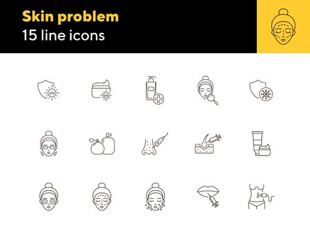 Skin problem line icon set. Woman, face, uv cream, peeling, injection Skin care concept. Can be used for topics like beauty salon, cosmetologist, acne