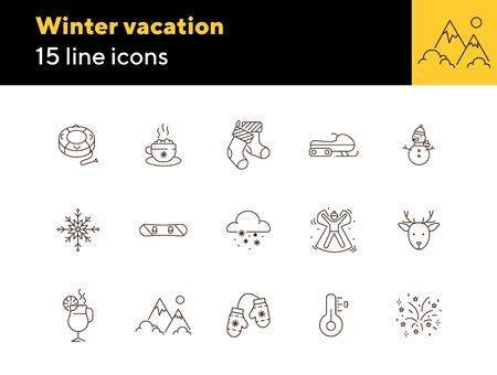 Winter vacation line icon set with firework and mittens. Thermometer, mountain, Christmas mulled wine. Hello winter concept. Can be used for topics like New year, holidays, outdoor activity