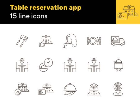 Table reservation app line icon set. Food delivery order, bbq, romantic dinner, cart isolated outline sign pack. Restaurant business concept. Vector illustration symbol elements for web design.