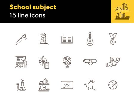 School subject line icon set. Knowledge, school, science. Studying concept. Can be used for topics like education, webinar, college Illustration