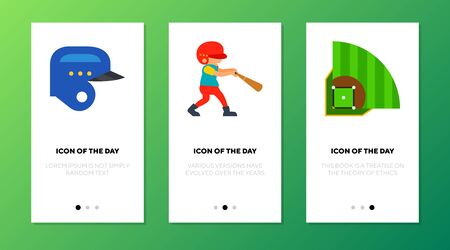 Playing baseball icon set. Field, helmet, player isolated sign. Sport, competition concept. Vector illustration symbol element for web design