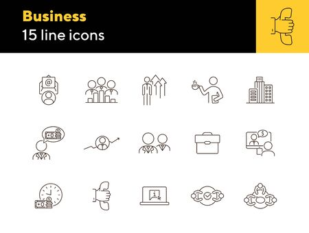 Business line icon set. Meeting, negotiation, briefcase. Dealing concept. Can be used for topics like agreement, collaboration, partnership  イラスト・ベクター素材