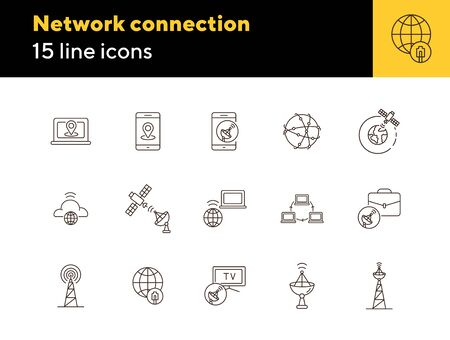 Network connection thin line icon set. Transmitter tower, signal transmission, worldwide connection isolated sign pack. Communication services concept. Vector illustration symbol elements for apps