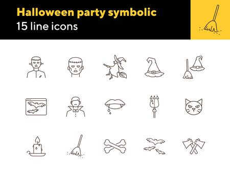 Halloween party symbolic line icons. Sweeping broom, Frankenstein, witch. Halloween concept. Vector illustration can be used for topics like holiday, festivals, celebration Illustration