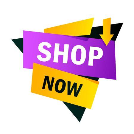 Compre ahora diseño de banner brillante amarillo y morado. Ilustración de vector de forma de triángulo y flecha. Elemento gráfico abstracto con texto. Plantilla para cartel de promoción, etiqueta publicitaria o volante.