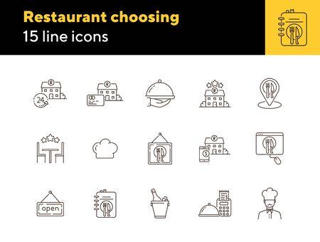 Restaurant choosing line icon set. Award stars, location pointer, always open isolated outline sign pack. Restaurant business concept. Vector illustration symbol elements for web design