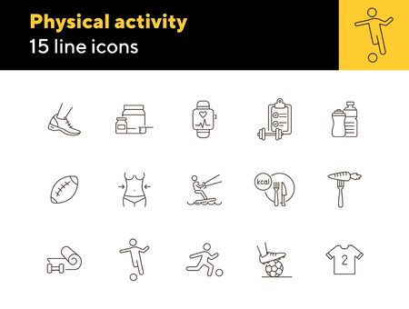 Physical activity line icon set. Exercising, game, fitness. Sport concept. Can be used for topics like wellness, healthy lifestyle, competition
