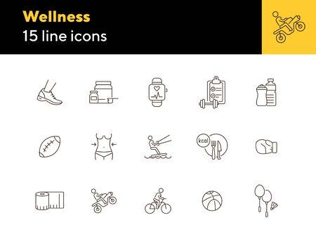 Jeu d'icônes de ligne de bien-être. Equipement, sport, supplément. Notion d'activité physique. Peut être utilisé pour des sujets tels que l'amincissement, l'exercice, les loisirs