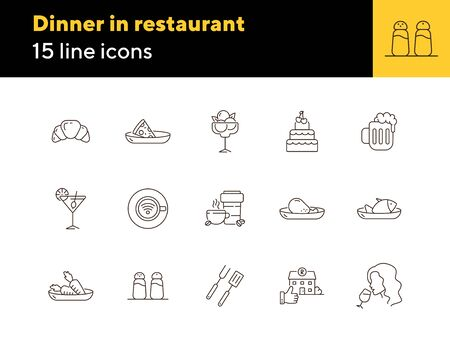 Dinner in restaurant line icon set. Meat course, vegan menu, alcoholic drinks isolated outline sign pack. Restaurant business concept. Vector illustration symbol elements for web design