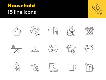 Household line icon set. Housework, clothing, textile. Laundry concept. Can be used for topics like laundromat, housekeeping, service