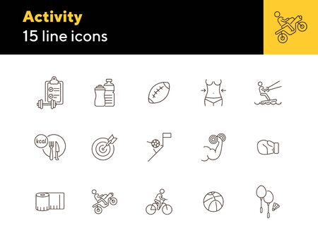Activity line icon set. Cycling, game, slimming. Exercising concept. Can be used for topics like sport, physical activity, active lifestyle Vecteurs