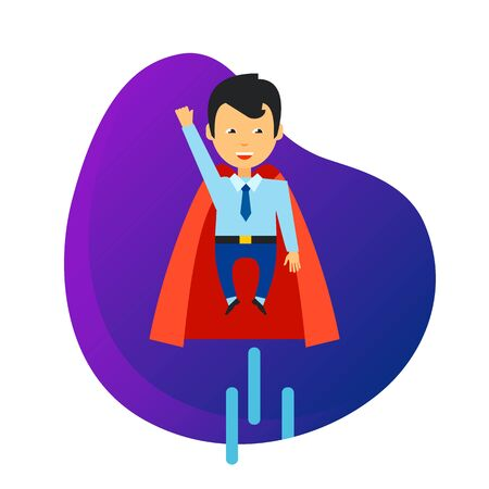 Business superhero icon. Flying businessman, cape, mantle isolated sign. Business, startup, success concept. Vector illustration symbol element for web design