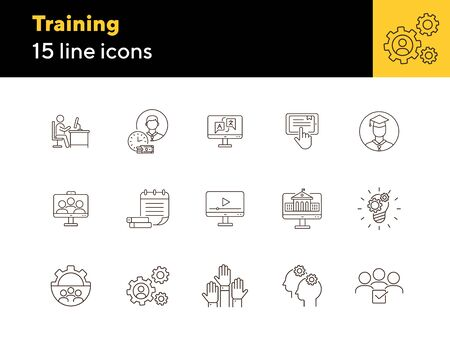 Training line icon set. Instruction, course, education. Webinar concept. Can be used for topics like knowledge, info business Illustration
