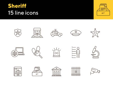 Sheriff line icon set. Star, department, cap, badge. Justice concept. Can be used for topics like crime, investigation, court