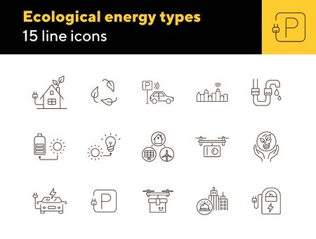 Ecological energy types icons. Set of line icons. City alarm, quadcopter with camera, car park. Alternative energy concept. Vector illustration can be used for topics like environment, ecology Ilustração