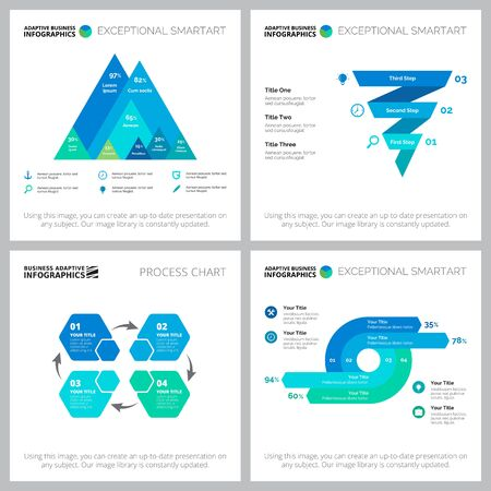 Set of graphic business infographic diagrams. Can be used for workflow layout, annual report, presentation slide, web design. Business and accounting concept with process charts