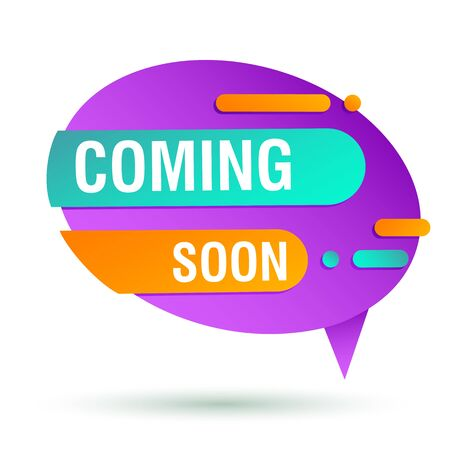Coming soon purple banner design. Speech bubble oval shape vector illustration. Abstract graphic element with text. Template for promotion poster, advertising label or flyer