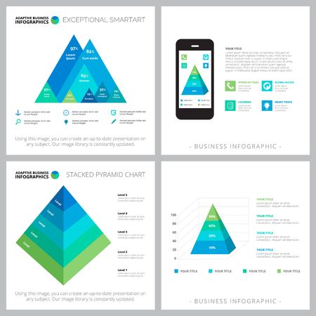 Set of graphic business infographic designs. Can be used for workflow layout, annual report, presentation slide, web design. Business and accounting concept with doughnut, time and percentage charts