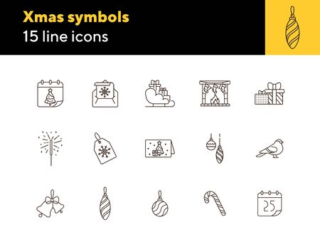 Xmas symbols line icon set. Bauble, Bengal fire, bell sign pack. Winter holidays concept. Vector illustration symbol elements for web design and apps