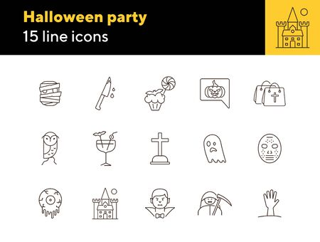 Halloween party icons. Cocktail, knife with blood, creepy muffin. Halloween concept. Vector illustration can be used for topics like holiday, festivals, celebration
