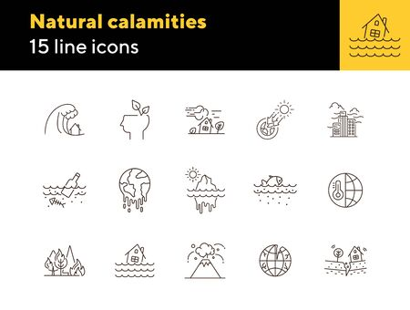 Natural calamities icons. Set of line icons. Forest fire, earthquake, melting glacier. Ecology concept. Vector illustration can be used for topics like environment protection, nature 矢量图像