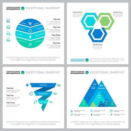 Set di diagrammi di infografica aziendale. Può essere utilizzato per il layout del flusso di lavoro, la relazione annuale, la diapositiva della presentazione, il web design. Concetto aziendale e contabile con diagrammi di processo