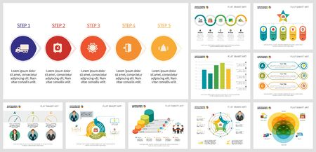 Set of creative business graphic designs for project management. Can be used for annual report, presentation slide, web design. Business concept with process, venn and bar charts