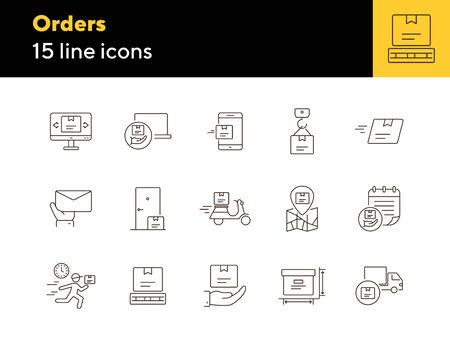 Orders icons. Set of line icons. Mobile parcel, delivery scooter, delivery location. Delivery concept. Vector illustration can be used for topics like shopping, service, post office