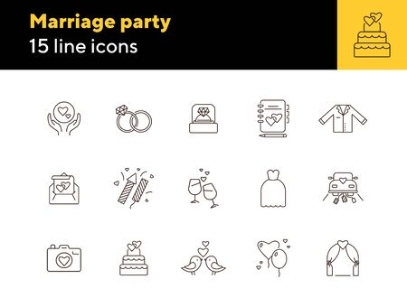 Marriage party icons. Set of line icons. Bride bouquet, calendar, church. Wedding concept. Vector illustration can be used for topics like marriage, family, love