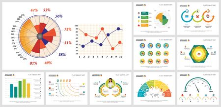 Bright infographic charts design set for report document layout, annual analysis, presentation slide, web site. Business and development concept with bar, pie, process, and line charts.