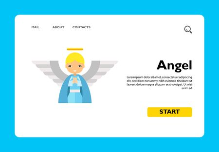 Icon of cute cartoon blonde angel in blue tunic with large white wings and golden nimbus