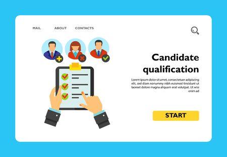 Homme tenant un document et analysant la qualification du candidat pour le poste vacant. Responsable RH, recrutement, ressources humaines. Concept de chasse à la tête. Peut être utilisé pour des sujets tels que les affaires, l'emploi, la gestion des ressources humaines