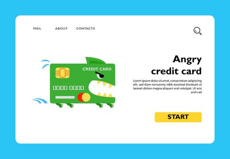 Angry green credit card with big jaw in rush. Credit card debt, bankruptcy, blocked credit card. Credit card concept. Can be used for topics like business, banking, finance, economic crisis