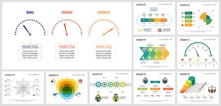 Set of analysis or marketing concept infographic charts. Can be used for annual report, presentation slide, web design. Business and accounting concept with speedometer and process charts