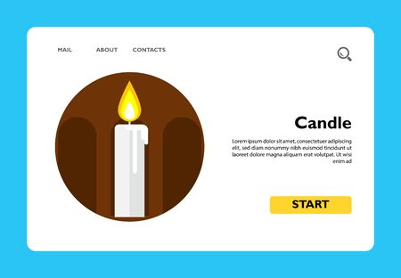 Icon of burning wax candle in brown circle with silhouette of arcature Stock Illustratie