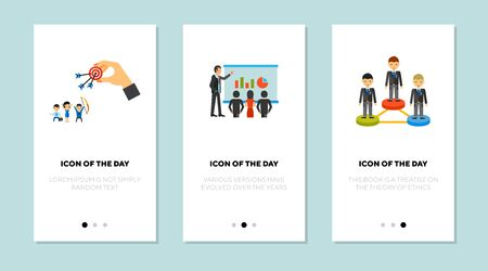 Job competition flat icon set. Goal achieving, analysis, employee rate isolated sign pack. Business, career, efficiency concept. Vector illustration symbol elements for web design