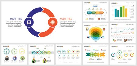 Set of graphic business infographic charts. Can be used for workflow layout, report, presentation slide, web design. Business and accounting concept with cycle, venn, bar and process charts Vectores