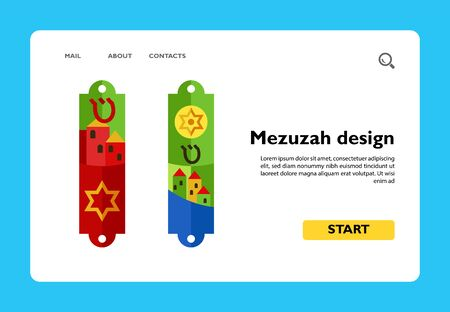 Icon of colorful Mezuzah design. Handwritten scroll of parchment, small case, facade. Jewish culture concept. Can be used for topics like architecture, religion or art