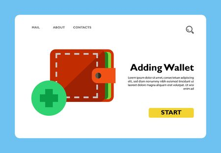 Illustration of wallet and plus sign. Adding wallet, shopping online, payment. E-commerce concept. Can be used for topics like e-commerce, shopping online, Internet, payment Ilustração
