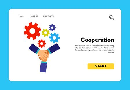 Icon of cooperation as mechanism. Stacking hands, gesturing, gear. Teamwork concept. Can be used for topics like team, support, metaphor