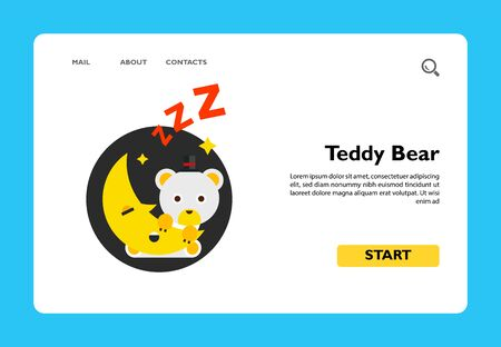 Illustration of cute cartoon teddy bear sitting on moon. Sleeping, night time, crescent. Night time concept. Can be used for topics like sleeping, childhood, night time Ilustrace