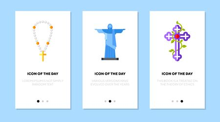 Christianity symbols flat icon set. Christ the Redeemer, Christian cross, pearl beads. Religion, worship, Christianity concept. Vector illustration symbol elements for web design Illustration