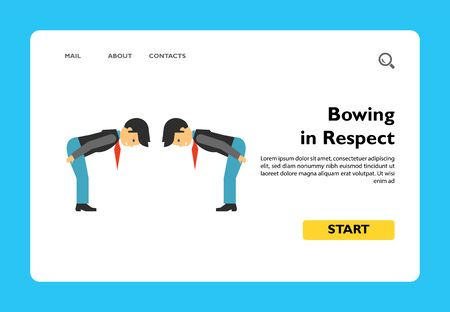 Multicolored vector icon of two men bowing to each other from waist showing respect 일러스트