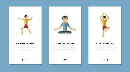 Man doing yoga by himself flat vector icon set. Health, meditation, pose isolated sign pack. Fitness and mindful lifestyle concept. Vector illustration symbol elements for web design and apps.