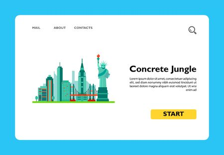 Icon of Concrete Jungle. Skyscraper, traveling, landmark. New York concept. Can be used for topics like tourism, vacation or American city 向量圖像